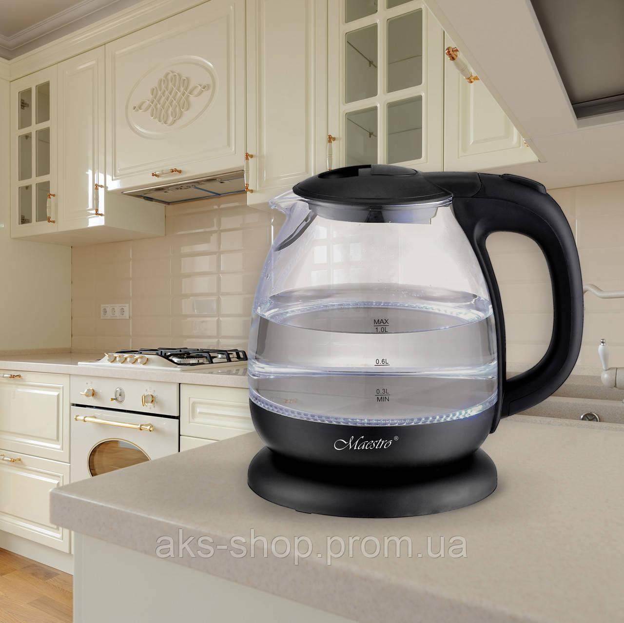 Стеклянный электрочайник Maestro MR-055 чёрный (1 л, 1100 Вт)   электрический чайник Маэстро, Маестро