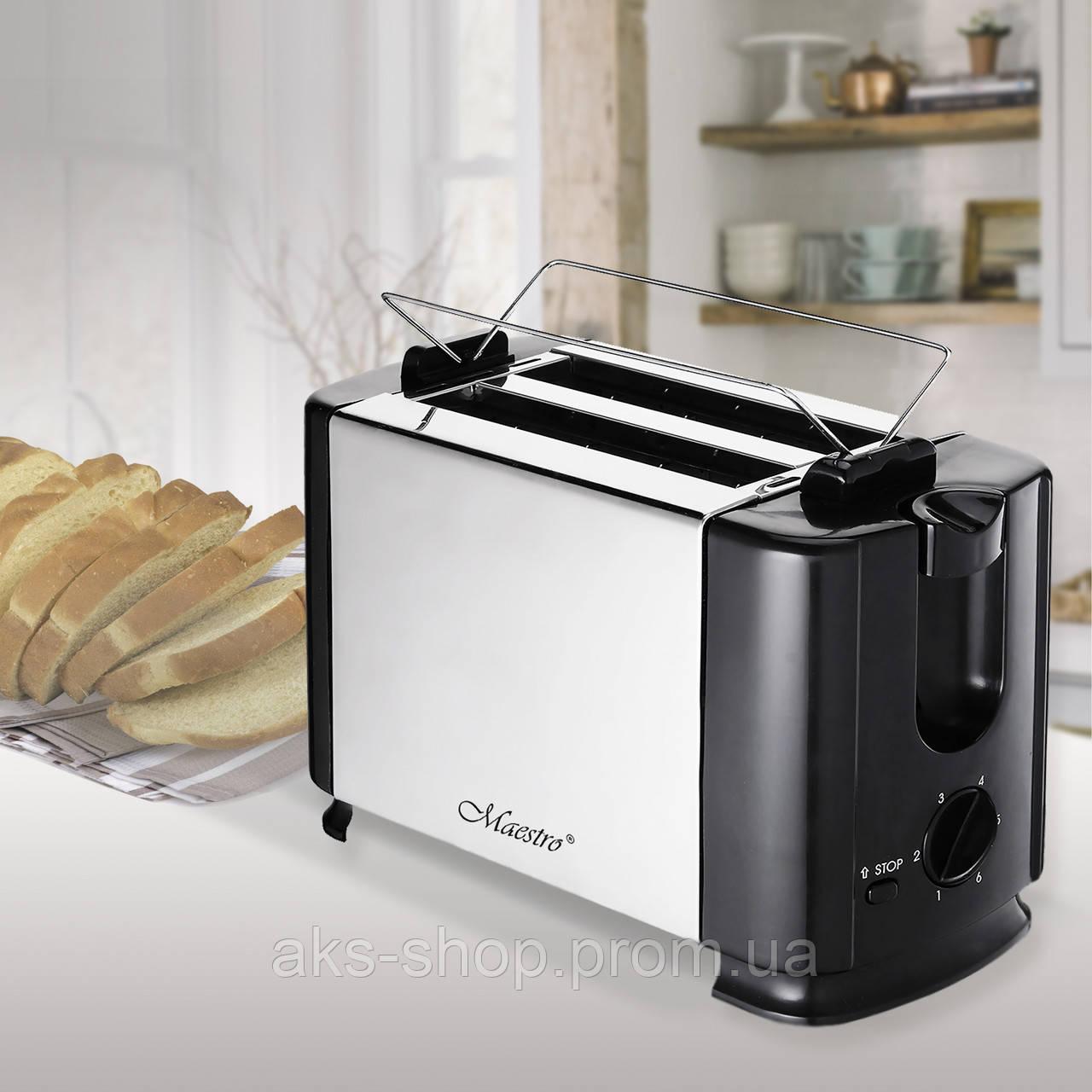 Тостер Maestro MR-701 (700 Вт, съемный поддон для крошек, кнопка отмены) | тостер Маэстро, тостерница Маестро