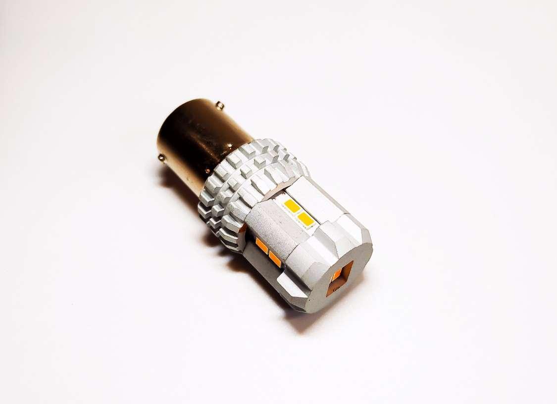 Автолампа светодиодная LED, PY21W, BAU15S, 12 SMD 2030, 9-16В, Желтая