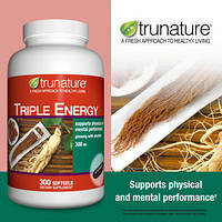 Trunature ® - Женьшень в Капсулах - Утроенный Женьшеневый Энергетик с Элеутерококком, 300 мг 300 капсул