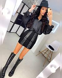 Женская черная юбка на шнуровке эффект утяжки,вставки из кожи