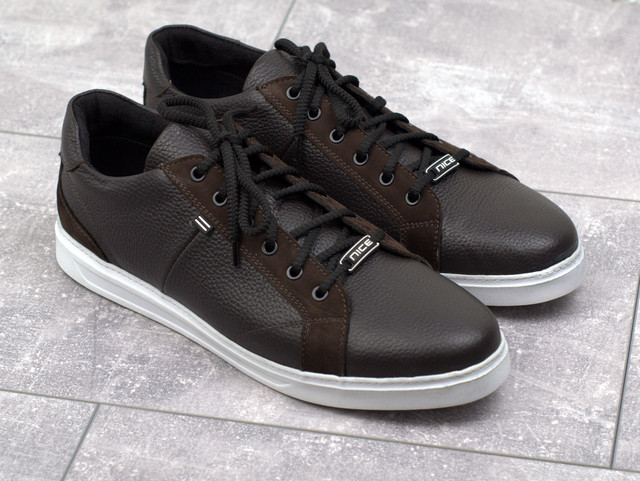 Обувь больших размеров мужские кожаные кроссовки коричневые кеды Rosso Avangard Puran Blu Brown TPR BS