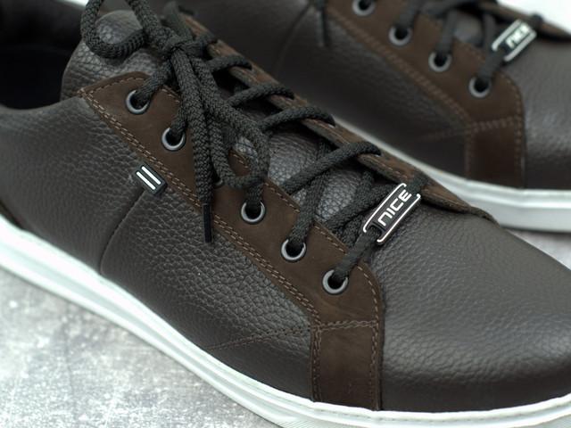 Обувь больших размеров мужские кожаные кроссовки коричневые кеды Rosso Avangard Puran Blu Brown BS