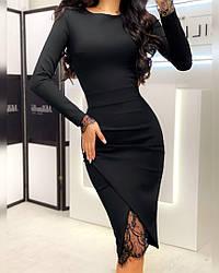 Женское стильное черное платье-миди с кружевом (эффект утяжки)