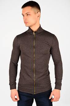 Кофта мужская на молнии темно-коричневая  размер S AAA 128187S