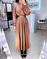 Шелковое женское платье-миди