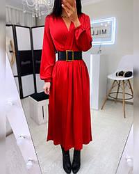 Шелковое женское красное платье-миди
