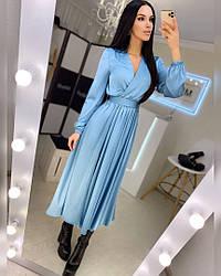 Шелковое женское платье-миди ,голубого цвета