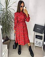 Молодежное женское миди платье весеннее в цветочный принт приталенное софт .Новая коллекция весна 2021