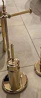 Золотая стойка для туалетной бумаги напольная и ершика StilHaus Elite EL 20.16