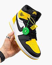 Мужские кроссовки в стиле Nike Air Jordan 1 Mid Yellow Black, кожа, белый,  черный, Вьетнам