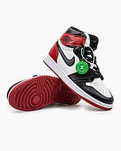 Мужские кроссовки в стиле Nike Air Jordan 1 Retro Red \ White \ Black, кожа, белый,  черный, Вьетнам