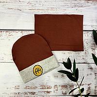 Трикотажная шапка с хомутом для мальчика A4 (коричневый) 52-54 р