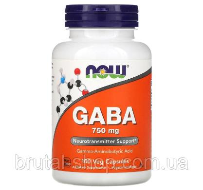 Аминокислота Габа,   NOW Foods GABA 750mg (100caps)