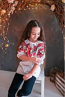 Вышиванка для девочек Бабочка красная вышивка