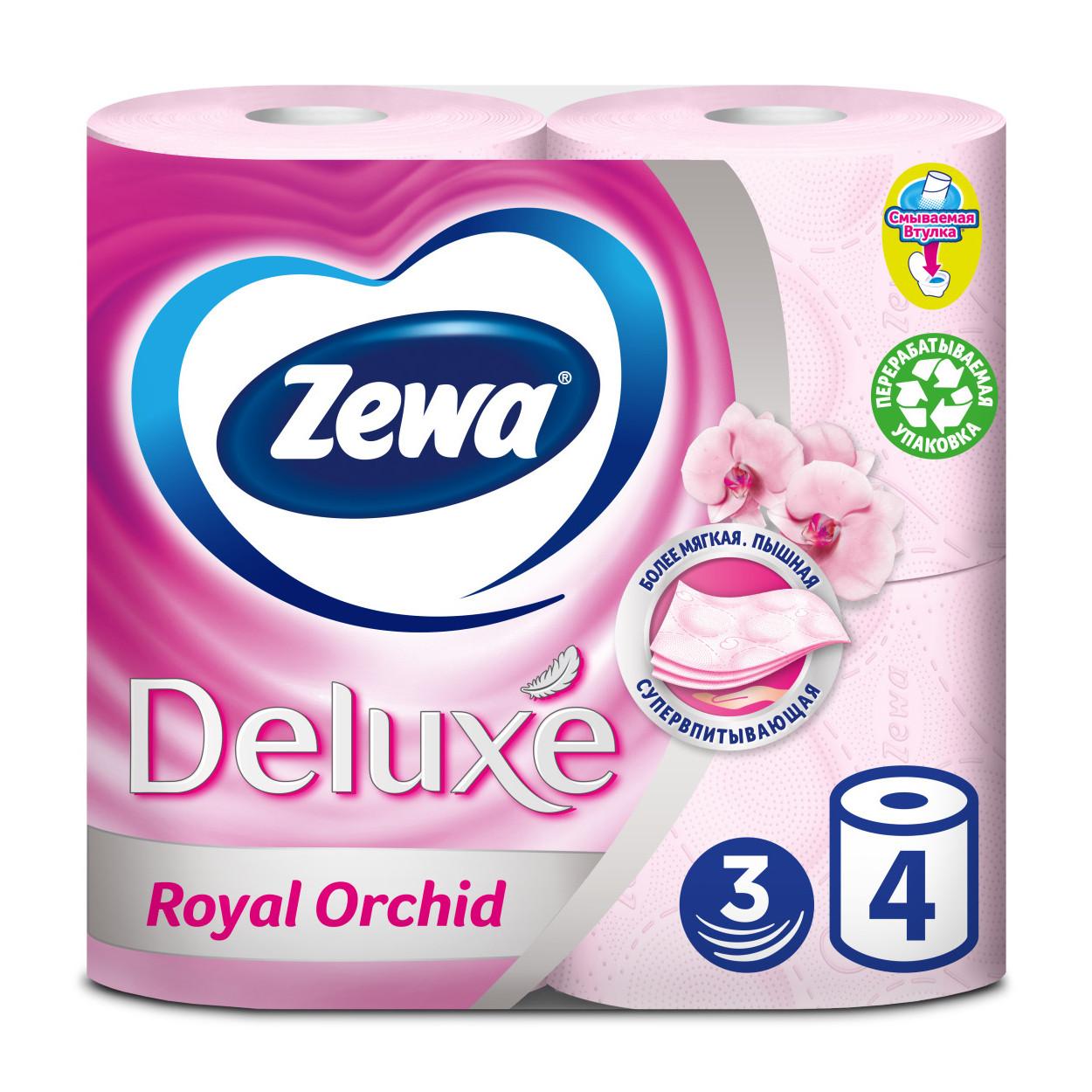 Туалетний папір Zewa Deluxe Royal Orchid, тришарова, 4шт