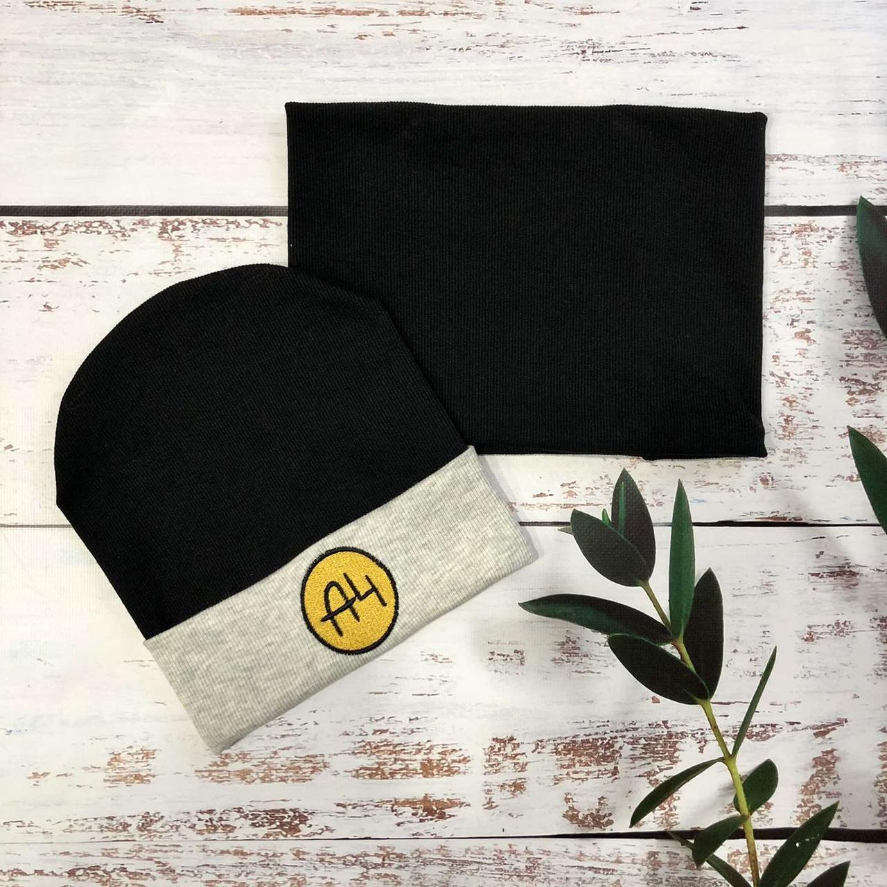 Трикотажная шапка с хомутом для мальчика A4 (черный) 52-54 р
