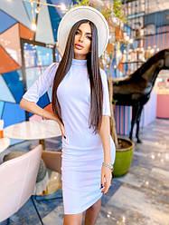 Стильное женское платье-миди, белого цвета