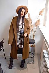 Женское стильное кашемировое пальто под пояс