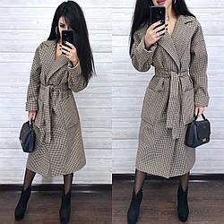 Женское кашемировое пальто в клетку под пояс