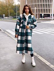 Женское пальто свободного кроя в клетку