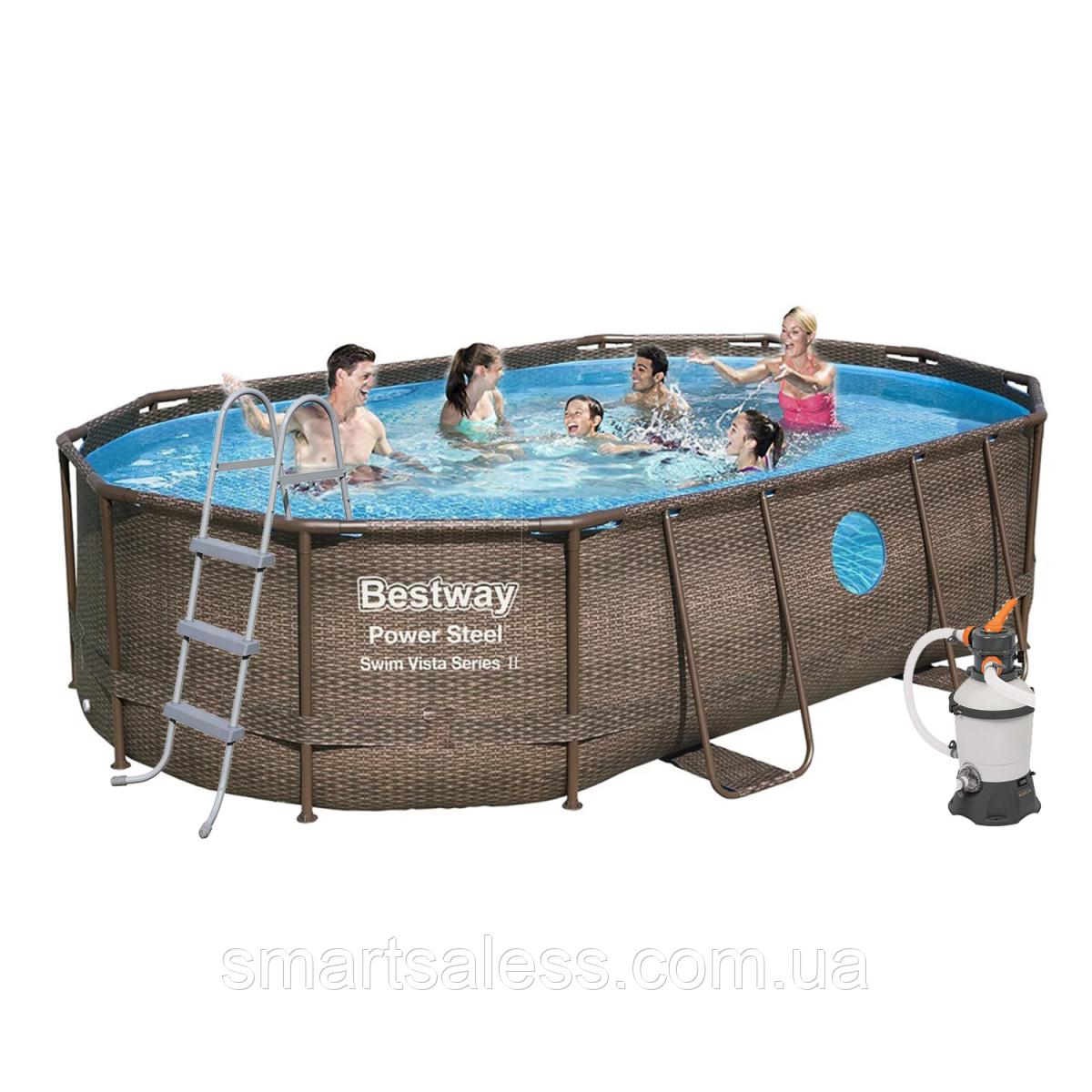Каркасний басейн, 488 х 305 х 107 см, насос 4500 л/год, дозатор, сходи, тент, підстилка