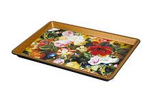 Піднос прямокутний пластиковий з квіточками 325 * 230 * 25 мм (шт)
