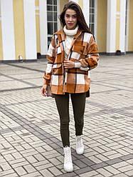 Женское стильное  короткое пальто в клетку