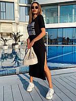 """Женское повседневное платье миди """"Тоня"""" с разрезами (черное, хаки, серый), фото 1"""