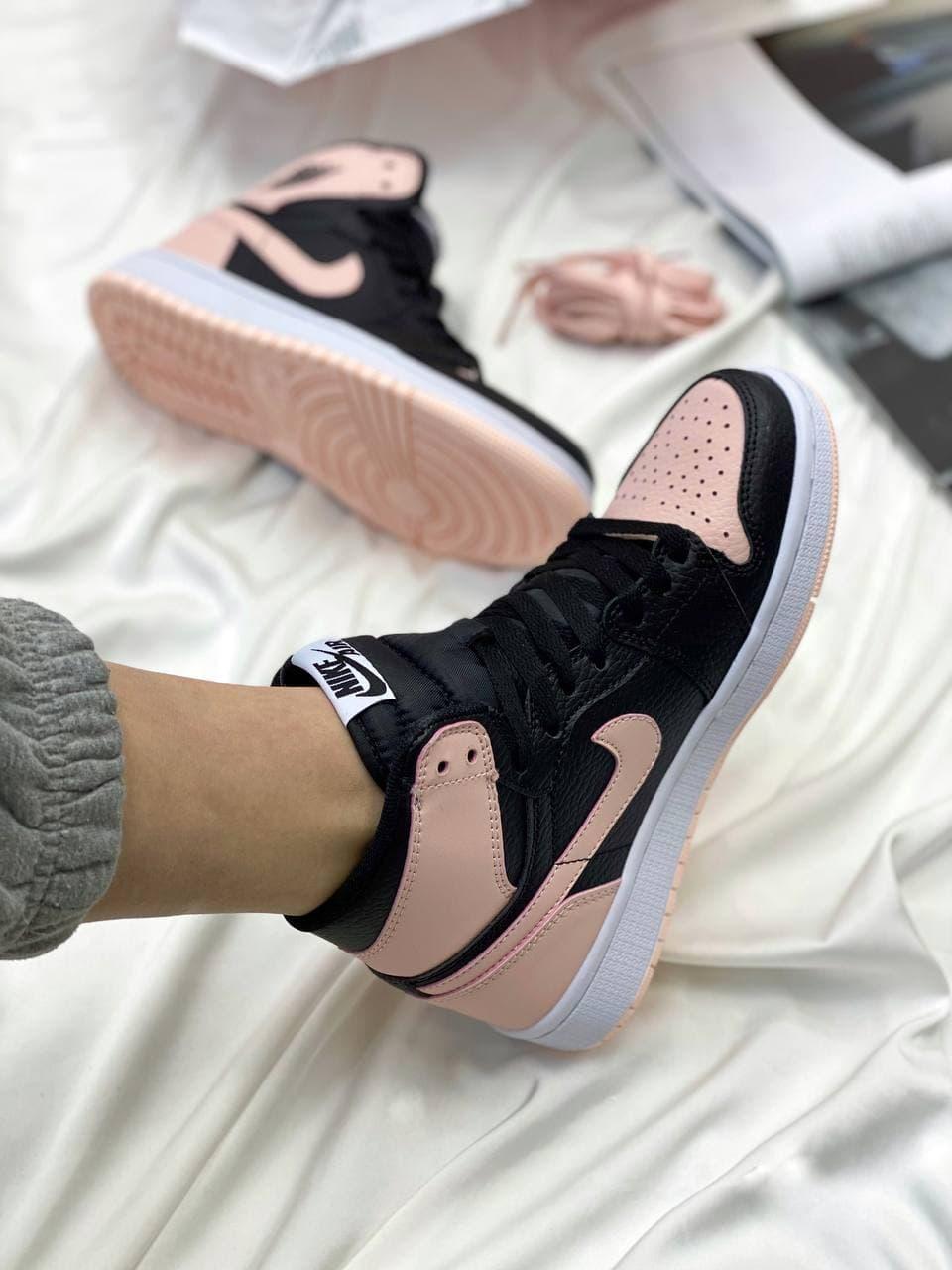 Air Jordan Retro High Peach/Black (Топ якість) Осінь-Весна, Кроссівки, взуття