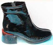 Черевики чорні жіночі на байку шкіряні від виробника модель КС21-088