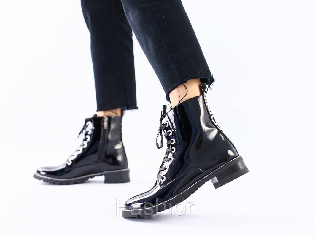 Женские черные лаковые демисезонные ботинки 36