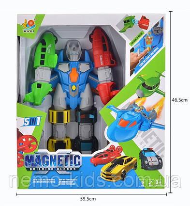 Трансформер магнитный конструктор 6в1 - 5 машин или суперробот.