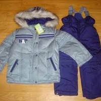 Зимняя куртка и полукомбинезон для мальчика, серый с синим 104