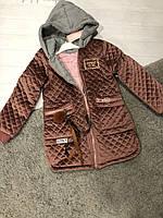 Велюровое пальто с трикотажным капюшоном на девочек 120 см
