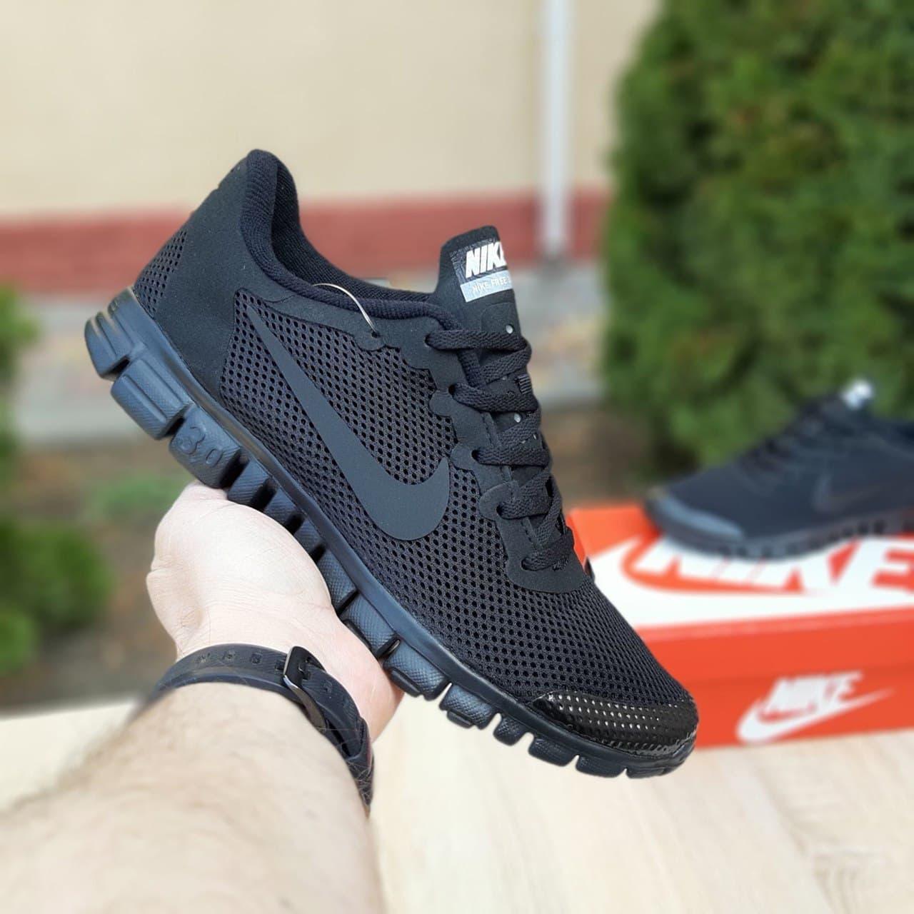 Мужские кроссовки Nk Free Run 3.0 черные со шнурками сетка  ТОП ( лицензия) 40-46р