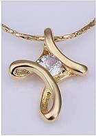 Подвеска на цепочке стилизованный крестик покрытие 14К золото