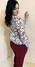 Блуза с цветочным принтом из шифона размеры от 44 до 64, фото 3