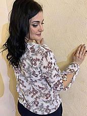 Блуза с цветочным принтом из шифона размеры от 44 до 64, фото 2