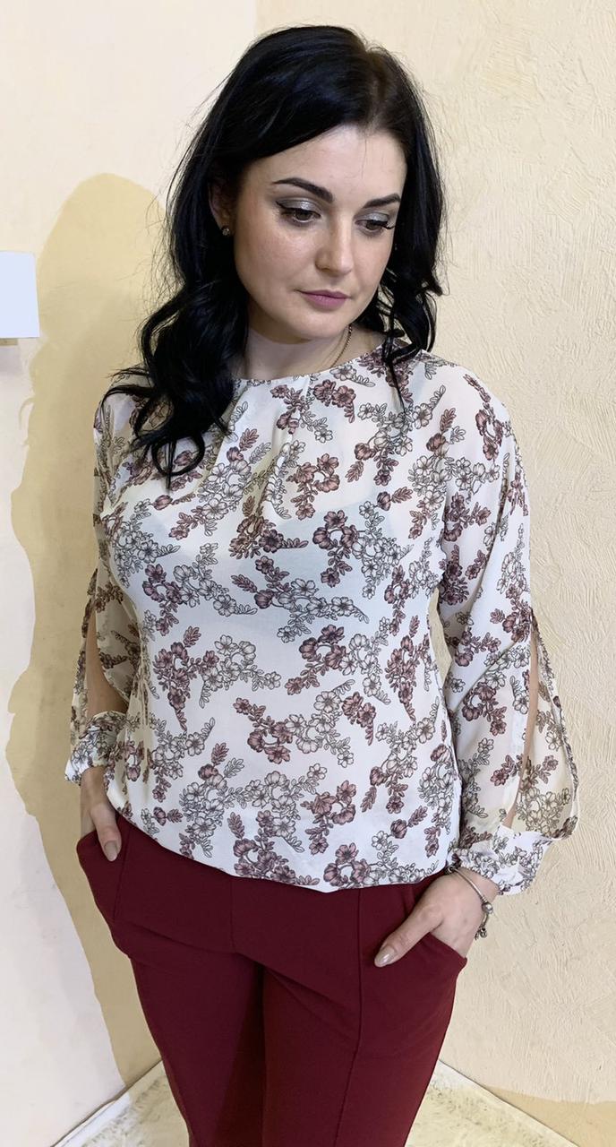 Блуза с цветочным принтом из шифона размеры от 44 до 64