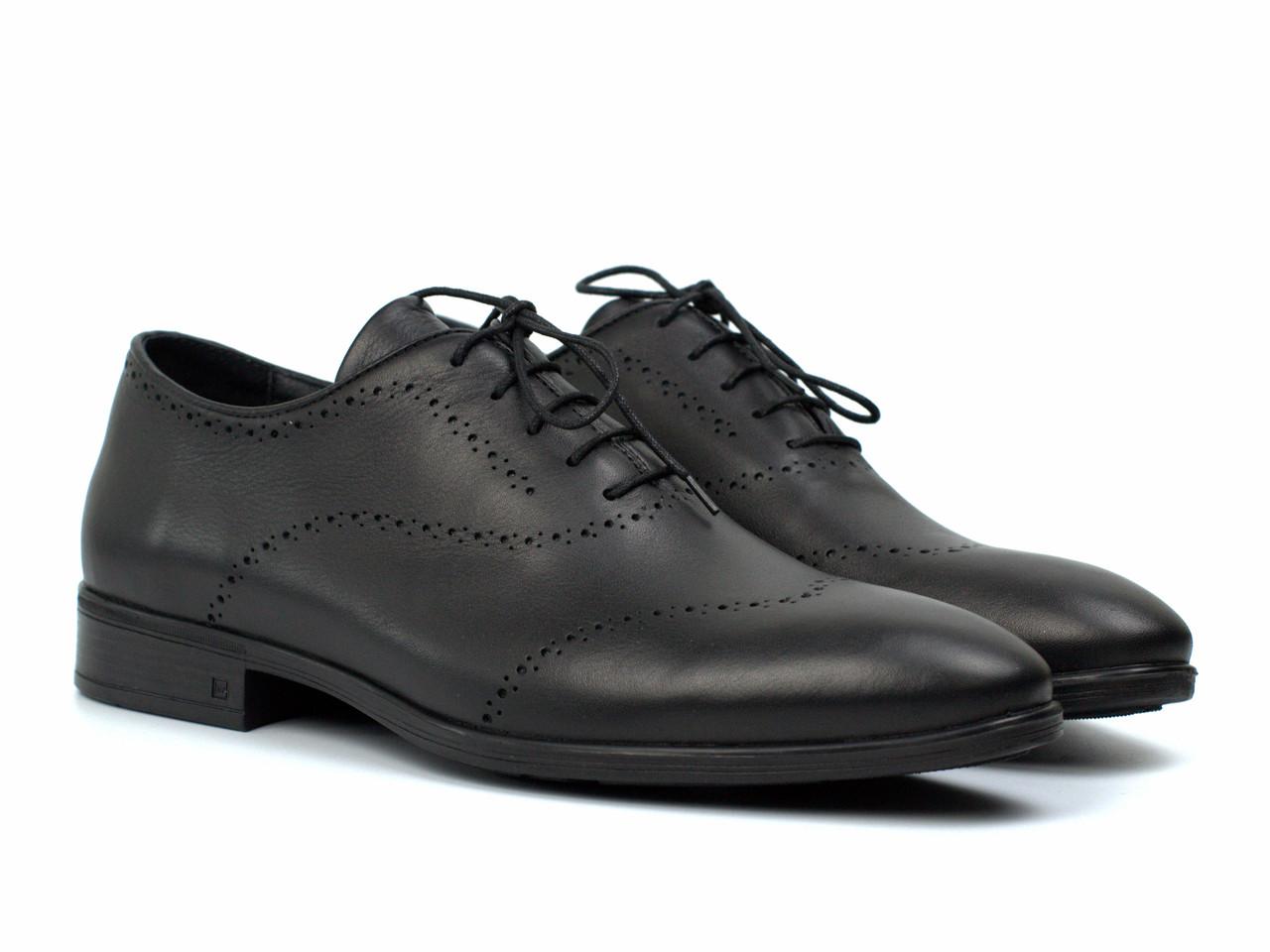 Оксфорды с брогированием черные кожаные мужские туфли обувь больших размеров Amedeo Black Leather BS by Rosso