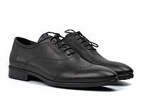 Оксфорды с брогированием черные кожаные мужские туфли обувь больших размеров Amedeo Black Leather BS by Rosso, фото 1