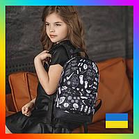 Рюкзак детский модный городской яркий с принтом для ребенка девочки мальчика черный найк брендовый с логотипом