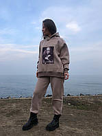 Теплий спортивний костюм жіночий оверсайз турецький футер трехнитка з начосом з внутрішніми кишенями бежевий, фото 1