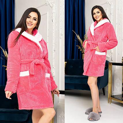 """Женский короткий махровый халат до больших размеров 815 """"Капюшон Карманы Контраст"""" в расцветках"""