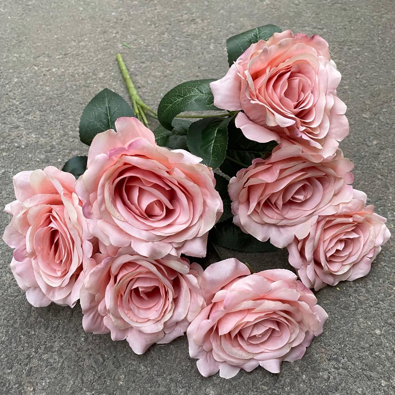 Штучні квіти Букет розкритих троянд 7-ка пудрові 43 см