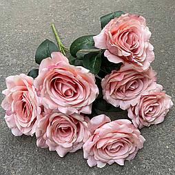 Искусственные цветы Букет раскрытых  роз 7-ка  пудровые 43 см