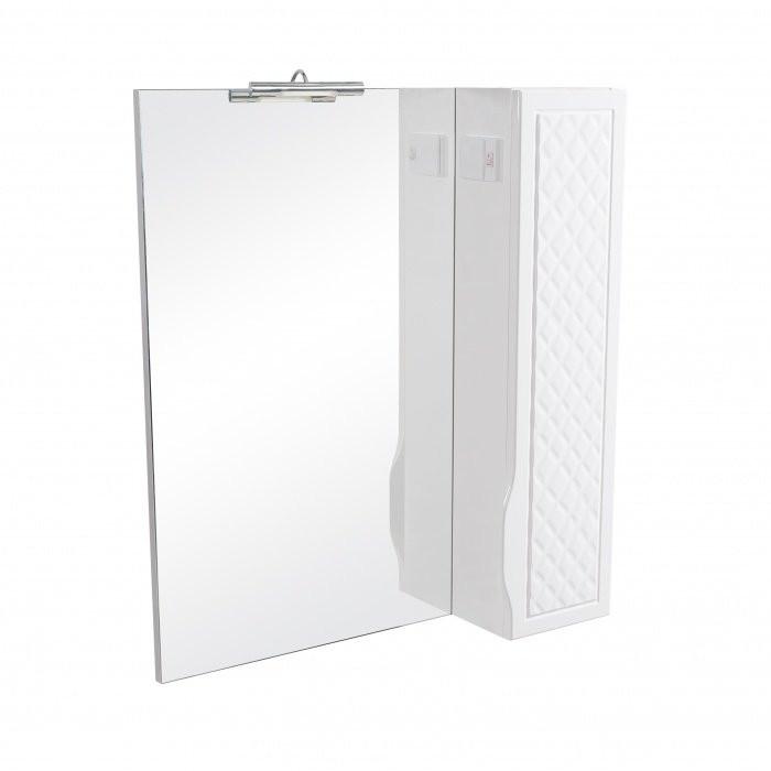 Зеркало с подсветкой и шкафчиком справа Аква Родос Родорс 65 белый, 650х165х800 мм