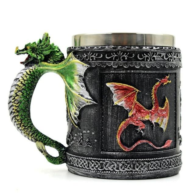 Кружка цветные драконы (объемная) 400 мл.