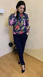 Костюм женский брюки и шифоновая блуза размеры 44-64